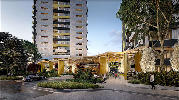 architectural rendering visual apartment tower courtyard hill road