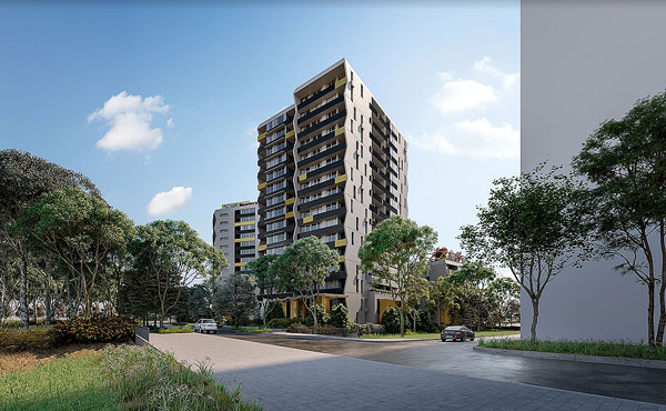 architectural rendering apartment towers hill road
