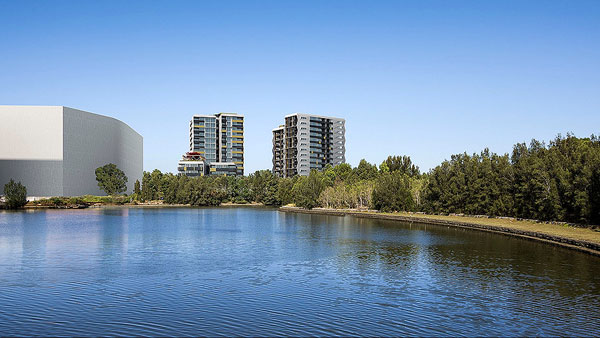 architectural rendering image apartment towers water views