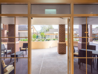 Bankstown Aged Care Yallambee Dementia Facility courtyard dining