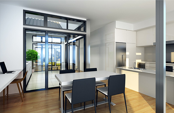 Interior rendering of 21st Century Terrace house