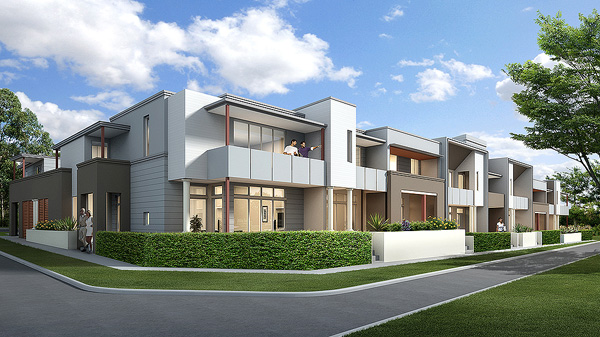 Streetscape rendering of the 21st Century Terraces typology at Thornton Penrith